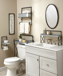 Galvanized Farmhouse Bathroom Get Naked Sign TP Holder Spacesaver Shelf or Rack