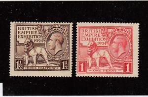 GREAT BRITAIN (MK5653) # 185-186 FVF-MH 1,1 1/2p 1922 BRITISH LION & KGV CV $29