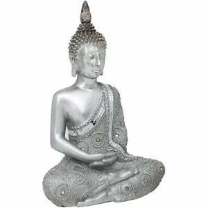 SILVER COLOURED THAI MEDITATING BUDDHA DECORATIVE ORNAMENT BY MATURI