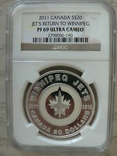 CANADA 20 DOLLARS WINNIPEG JETS NGC PF-69 2011-2012 FINE SILVER COIN ONLY 5,536