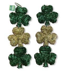 St Patricks Day Green Gold Shamrock Tinsel Hanging Decoration Party Irish 2 Pack