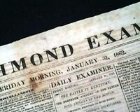 Rare CONFEDERATE VA w/ Battle of Mill Springs Kentucky 1862 Civil War Newspaper