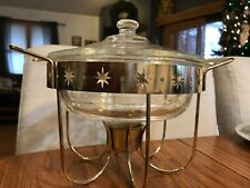 Vintage  Fire King Glass Chafing Dish With Brass Plated Stand Star Inlay