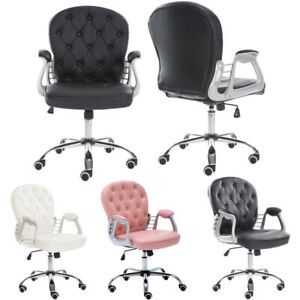 Velvet/PU Leather Ergonomic Office Computer Chair Home Study Swivel Tufted Back