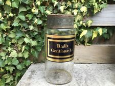 Large Authentic original antique apothecary pharmacy Jar Radix Gentianae L: