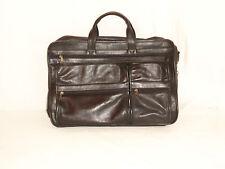 Leather Business Laptop Bag Heritage Industries Black Multiple Zippered Pockets