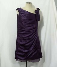 WHITE By Vera Wang Purple Hammered Satin Side-Draped Dress with Bow Detail 14