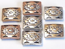 7 - 2 HOLE SLIDER BEAD BRASS SILVER COPPER TRI COLOR SOUTHWESTERN NAVAJO PATTERN