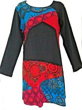 * Venta * Gringo Para Mujeres Algodón Jersey Manga Larga Vestido colorido Hippy Boho
