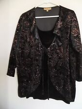 NOTATIONS Black Gold Paisley Print 3/4 Sleeve 2 in one Blouse Top & Tank Sz 3X