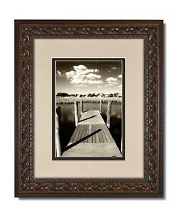 16x20 Vintage Ornate Bronze Frame, Glass & Oyster/Espresso Dbl. Mat for 12x16