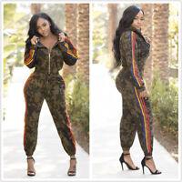 Fashion Women Hooded Zipper Side Stripes Casual Camouflage Print Jumpsuit 2pcs