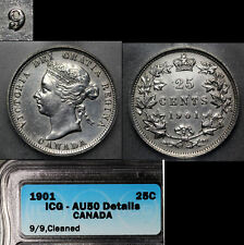 XMAS SALE - CANADA 25 cents Variety 1901 - Repunched 9 - AU50 (m075c)