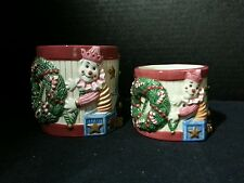 2 Fitz and Floyd Christmas Candle holders. Stocking, jack in the box, wreath