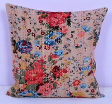 Ethnic Indian Floral Print Cushion Cover Home Decor Kantha Work Cotton Throw 16""