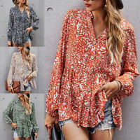 Women Boho Floral Long Sleeve Ruffle Shirt Tops Ladies Loose Button Up Pullover