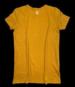 Victorias Secret PINK Perfect Crew Neck Short Sleeve Tee T-Shirt Cotton Mustard