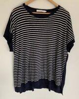 JOHN LEWIS Pure Linen Striped Short Sleeve Top Blouse Size 16