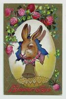 ~Bunny Rabbit with Bell & Flowers~ Antique Embossed~Easter Postcard-p795