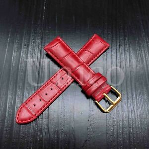 12 - 22 MM Watch Band Strap Genuine Leather Iwatch Alligator Wrist Yellow Gold