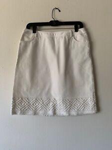 LAFAYETTE 148 Women's Knee Length Skirt Side Zip Pockets White Denim Size 4