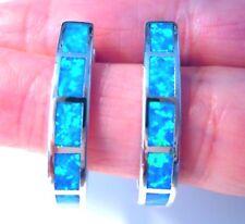 **NEW**FABULOUS LARGE SEMI HOOP BLUE FIRE OPAL EARRINGS 26 X 4 mm
