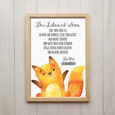 Bild Das Leben Ist Schön Kunstdruck DIN A4 Fuchs Spruch Druck Kinderzimmer Deko