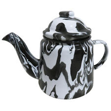 1L Handmade Black and White Marble Effect Enamel Teapot, Suitable for Hot Drinks