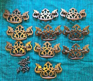 10 Vintage Brass Bat Wing Drop Handle Drawer Pull 3'' Hardware Chippendale style