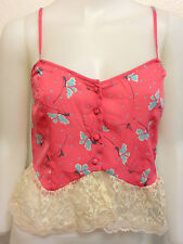 NEW O'NEILL SATIN PINK  FLOWER FLORAL LACE CROP TANK TOP MOD URBAN BOHO SMALL