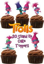 POPPY Troll wafer commestibile Stand Up Cupcake/Decorazioni per Torta x 20 (Thick Qualità)