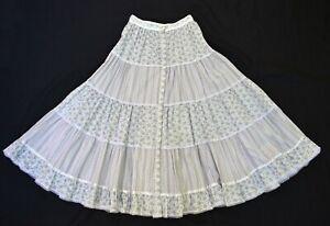 """vtg 70's 80's GUNNE SAX Jessica's Gunnies prairie peasant skirt xs 23"""" waist"""