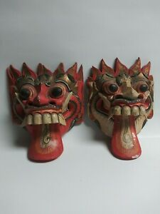 Vintage Balinese Dragon Barong Wood Hand Carved and Painted Mask Demon Lot of 2