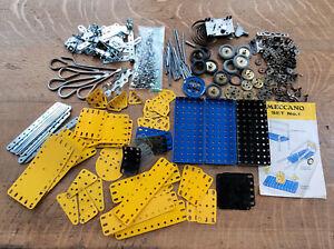 Vtg Meccano Lot Metal Parts Bits Tools Key Wind Up Box + Set No. 1 Instructions