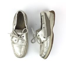 Sperry Metallic Gold Leather Boat Shoe 7