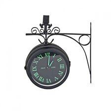 Bahnhofsuhr Wanduhr Doppelseitig Antik Stil Nostalgie Quarz Uhr Schwarz Ø 20 cm