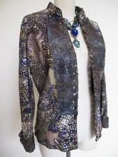 Alberto Makali Artsy Open Jacket 16 L Embellished Lace Mesh Overlay Rhinestones