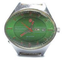 Soviet USSR Mens Chaika Green Big Wrist Watch Stadium 23 Jewels 2627h