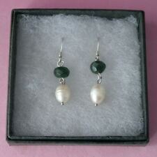 Nice Earrings With Green Argate And Pearls 3.2 Gr.2.8 Cm.Long + 925 Hooks In Box