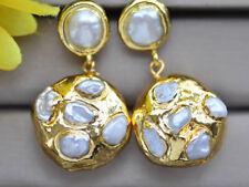 Baroque Pearl gold-plating Dangle Earring Z10308 26mm (big-leaf hydrangea) White