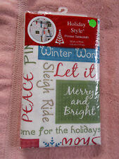 "Festive Christmas Sayings Tablecloth 52""x70"" Holiday Style Peace Let it Snow"