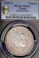 German States Prussia 1828 A Mining Taler Coin Thaler PCGS MS 61 VZ+/PRF Deutsch