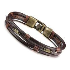 Men's Leather Bracelet Tribal Braid Cuff Hand Chain Bracelet Leather Cord L G4V8