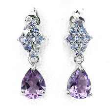 Sterling Silver 925 Genuine Purple Amethyst & Blue Tanzanite Drop Earrings