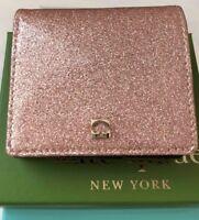 NWT Kate Spade Mavis Street Serenade Bifold Wallet Rose Gold Pink Sparkle w/ Box