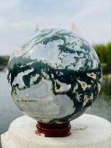 Natural Moss Agate Ball Quartz Crystal Sphere Wand Reiki Healing 1010g