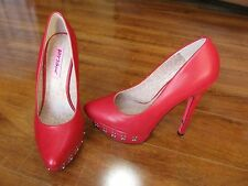 NEW Betsey Johnson Catelynn Red Leather Pumps Shoes Womens SZ 7 $160.