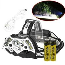 200000LM 11LED Headlamp USB Rechargeable 18650 Headlight Torch+Battery+USB Cable