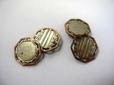 Antique Cufflinks Cuff Links: Silver Tone Gold Tone Excellent Design
