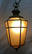 Antique Amber Glass Ceiling Hexagonal Tapered Pendant Light Vintage 123-19C